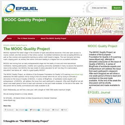 The MOOC Quality Project