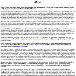 "The Name ""Maya"""