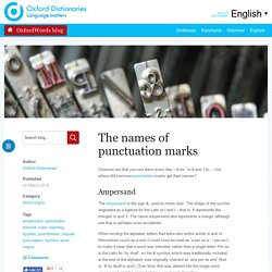 Signs and symbols: the names of punctuation marks