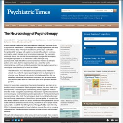 The Neurobiology of Psychotherapy