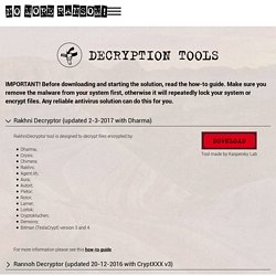 Les Outils de décryptage !! The No More Ransom Project