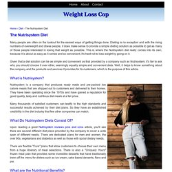 The Nutrisystem Diet
