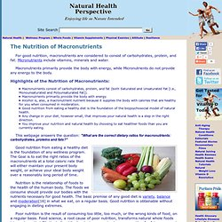 The Nutrition of Macronutrients