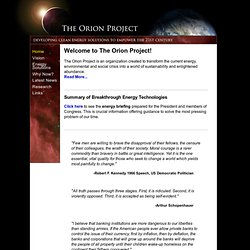 The Orion Project - Welcome to The Orion Project!