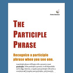 The Participle Phrase