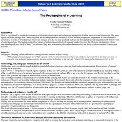 The Pedagogies of e-Learning