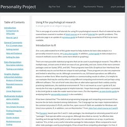 The Personality Project's Guide to R