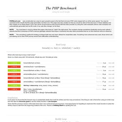 The PHP Benchmark