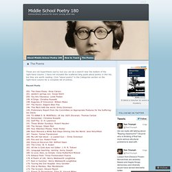 The Poems « Middle School Poetry 180