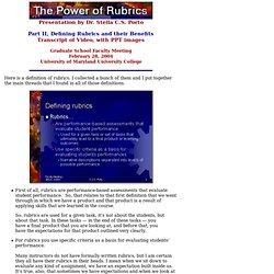 The Power of Rubrics (II) - Stella C.S. Porto