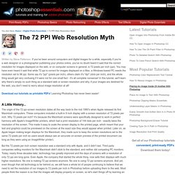 The 72 PPI Web And Screen Resolution Myth
