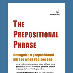 The Prepositional Phrase