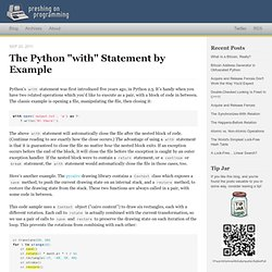 "The Python ""with"" Statement by Example"