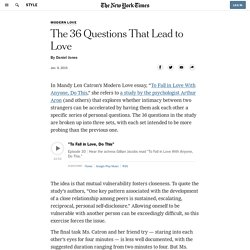 The 36 Questions That Lead to Love