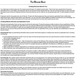The Resume Shop - How to write a resume and get a job