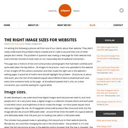 The right image sizes for websites