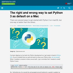 The right and wrong way to set up Python 3 on MacOS