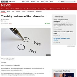 The risky business of the referendum