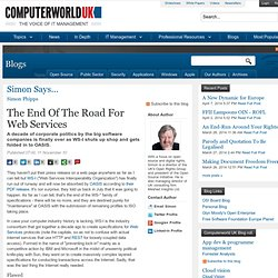 SOAP end : The End Of The Road For Web Services