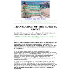 The Rosetta Stone: Translation of the Rosetta Stone