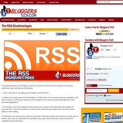 The RSS Disadvantages