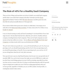 The Rule of 40% For a Healthy SaaS Company