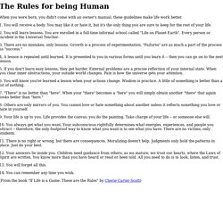 The Rules for being Human