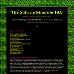 The Salvia divinorum FAQ