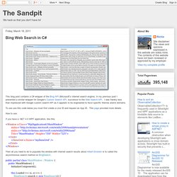 The Sandpit: Bing Web Search in C#