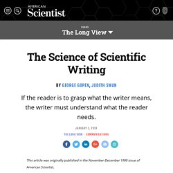 The Science of Scientific Writing