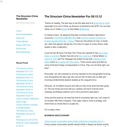 The Sinocism China Newsletter For 09.15.12