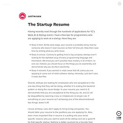The Startup Resume by Justin Kan