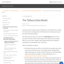 The Tableau Data Model - Tableau