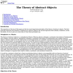 The Theory of Abstract Objects
