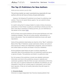 » The Top 25 Publishers for New Authors
