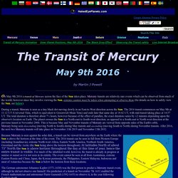 The Transit of Mercury, 9th May 2016