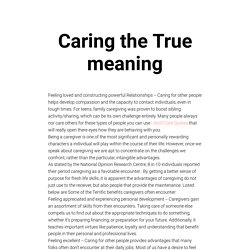 The true meaning of caring