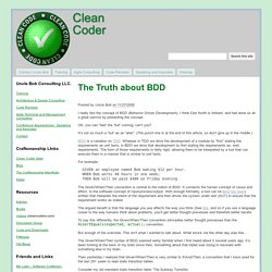 The Truth about BDD - Clean Coder