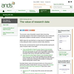 The value of research data - ANDS
