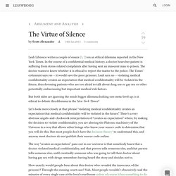 The Virtue of Silence - LessWrong 2.0