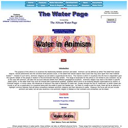 The Water Page - Water in Animism