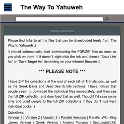 The Way to Yahuweh Downloads Page
