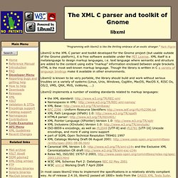 The XML C parser and toolkit of Gnome