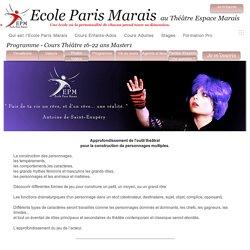 Ecole Paris Marais - théâtre Ados 15-22 master1 programme