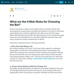 What are the 4 Main Rules for Choosing the Bar?