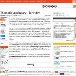 Thematic vocabulary - Birthday