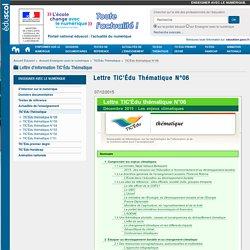 Lettre TIC'Édu Thématique N°06 — Enseigner avec le numérique