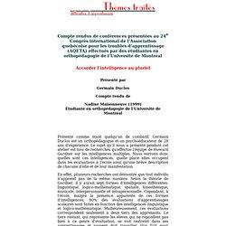Thématiques: Difficultés d'apprentissage: Comptes rendus et critiques