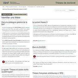 Identifier une thèse - Thèses de doctorat - Portails et guides thématiques at Bibliothèque nationale de France