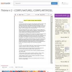 Thème n 2 - CORPS NATUREL, CORPS ARTIFICIEL